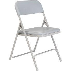 Premium Lightweight Plastic Folding Chair - Gray Seat & Back/Gray Steel Frame - Pkg Qty 4