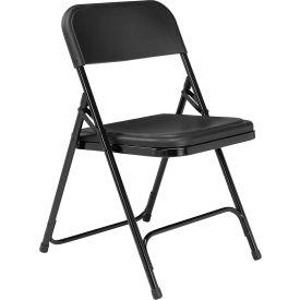 National Public Seating Steel Folding Chair - Plastic Seat - Black Seat/Black Frame - Pkg Qty 4