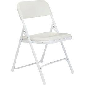 Premium Lightweight Plastic Folding Chair - White Seat/White Frame - Pkg Qty 4