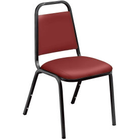 Economy Vinyl Stack Chair w/Steel Frame, Burgundy by