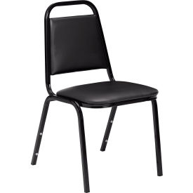 Economy Vinyl Stack Chair w/Steel Frame, Black by