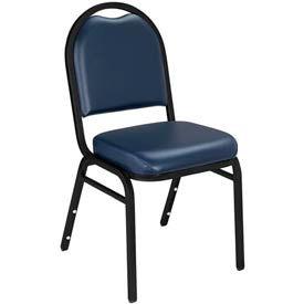 Dome Vinyl Padded Stack Chair - Midnight Blue Seat/Black Sandtex Frame