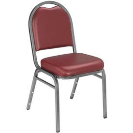 """NPS Stacking Chair - 2"""" Vinyl Seat - Dome Back - Burgundy Seat with Silver Frame"""