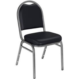 "NPS Banquet Stacking Chair - 2"" Vinyl Seat - Dome Back - Black Seat with Silver Frame"