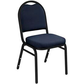 """NPS Stacking Chair - 2"""" Fabric Seat - Dome Back - Blue Seat with Black Frame"""