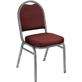 """NPS Stacking Chair - 2"""" Fabric Seat - Dome Back - Burgundy Seat with Silver Frame"""