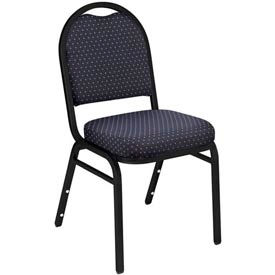 Dome Fabric Padded Stack Chair - Navy Pattern Seat/Black Sandtex Frame