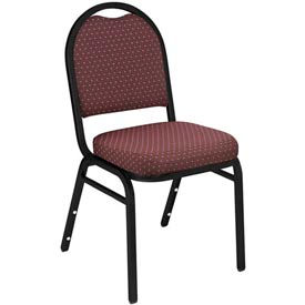 Dome Fabric Padded Stack Chair - Burgundy Pattern Seat/Black Sandtex Frame