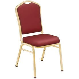 Silhouette Vinyl Padded Stack Chair - Burgundy Seat/Gold Frame - Pkg Qty 2
