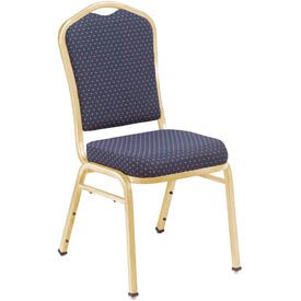 Silhouette Fabric Padded Stack Chair - Navy Pattern Seat/Gold Frame - Pkg Qty 2