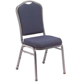 Silhouette Fabric Padded Stack Chair - Navy Pattern Seat/Silvervein Frame - Pkg Qty 2