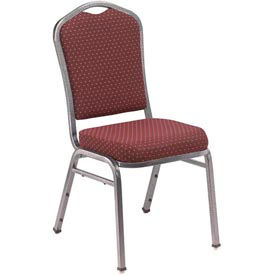 Silhouette Fabric Padded Stack Chair - Burgundy Pattern Seat/Silvervein Frame - Pkg Qty 2