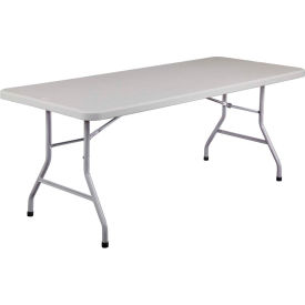 """NPS Plastic Folding Table - 72"""" x 30"""" - Speckled Gray"""