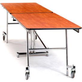 NPS® 12' Mobile Rectangular Table - Plywood with ProtectEdge - Chrome Frame - Banister Oak