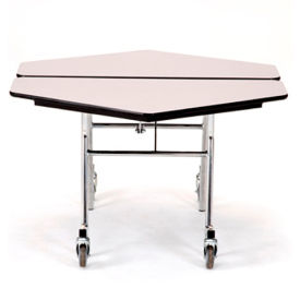 "NPS® 48"" Mobile Hexagon Table - Plywood with ProtectEdge - Chrome Frame - Wild Cherry"