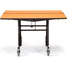 "NPS® 48"" Mobile Square Table - Plywood with ProtectEdge - Powder Coated Frame - Banister Oak"