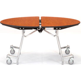 """NPS® 48"""" Mobile Round Table - MDF with ProtectEdge - Powder Coated Frame - Montana Walnut"""
