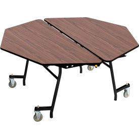 """NPS® 60"""" Mobile Octagon Table - MDF with ProtectEdge - Powder Coated Frame - Montana Walnut"""