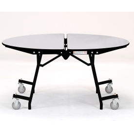 "NPS® 60"" Mobile Round Table - MDF with ProtectEdge - Powder Coated Frame - Grey Nebula"