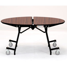 """NPS® 60"""" Mobile Round Table - MDF with ProtectEdge - Powder Coated Frame - Montana Walnut"""