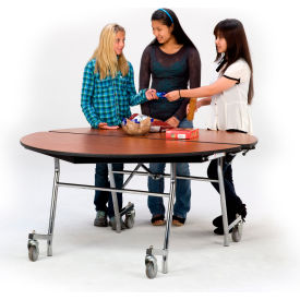"NPS® 60"" Mobile Round Table - Plywood with ProtectEdge - Powder Coated Frame - Banister Oak"