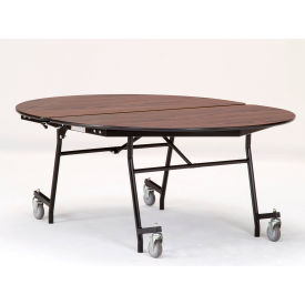 """NPS® 60"""" x 72"""" Mobile Oval Table - MDF with ProtectEdge - Powder Coated Frame - Montana Walnut"""