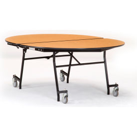 """NPS® 60"""" x 72"""" Mobile Oval Table - Plywood with ProtectEdge - Chrome Frame - Grey Nebula"""