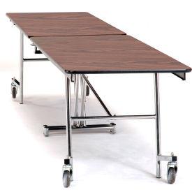 NPS® 8' Mobile Rectangular Table - MDF with ProtectEdge - Chrome Frame - Montana Walnut
