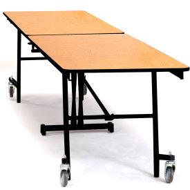 NPS® 8' Mobile Rectangular Table - MDF with ProtectEdge - Powder Coated Frame - Banister Oak
