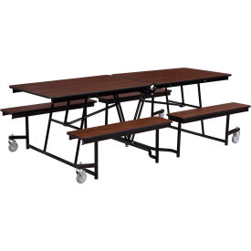 NPS® 8' Mobile Cafeteria Table with Fixed Bench - MDF - Walnut