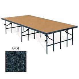 "Portable Stage with Carpet - 96""L x 48""W x 16""H - Blue"