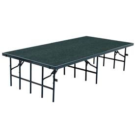 """Portable Stage with Carpet - 96""""L x 48""""W x 32""""H - Grey"""