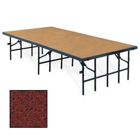 """Portable Stage with Carpet - 96""""L x 48""""W x 32""""H - Red"""
