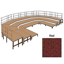 "48""W Carpet Stage Configuration w/9 Stage Units, 12 Pie Units & Guard Rails-Red"