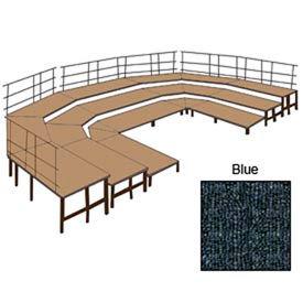 """36""""W Carpet Stage Configuration w/9 Stage Units, 12 Pie Units & Guard Rails-Blue"""