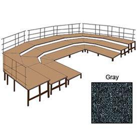 "36""W Carpet Stage Configuration w/9 Stage Units, 12 Pie Units & Guard Rails-Grey"
