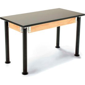 "NPS Science Table w/ Book Boxes - Chemical Resistant - Adjustable Height - 24"" x 54"" - Black/Black"