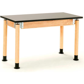 """NPS Science Table with Casters - Chemical Resistant - Adjustable Height - 24"""" x 60"""" - Black/Oak"""