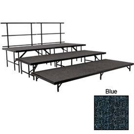 "Stage Set with Carpet - 96""L x 36""W - 8""H, 16""H, 24""H & Two Guard Rails - Blue"