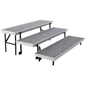 3-Level Straight TransPort Riser - Gray Carpet with Black Aluminum Frame