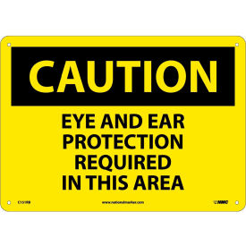 NMC C151RB OSHA Sign, Caution Eye & Ear Protection Required In This Area,...