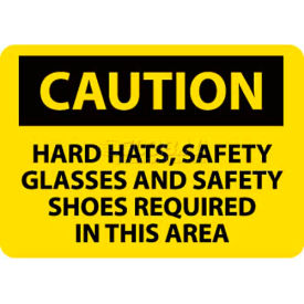"""NMC C160AB OSHA Sign, Caution Hard Hats Safety Glasses & Safety Shoes Required, 10"""" X 14"""", Yw/Blk"""