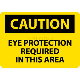 "NMC C26R OSHA Sign, Caution Eye Protection Required In This Area, 7"" X 10"", Yellow/Black"