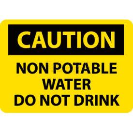 "NMC C361P OSHA Sign, Caution Non-Potable Water Do Not Drink, 7"" X 10"", Yellow/Black"