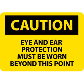 NMC C480RB OSHA Sign, Caution Eye & Ear Protection Must Be Worn Beyond This...