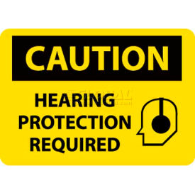 """NMC C514RB OSHA Sign, Caution Hearing Protection Required, 10"""" X 14"""", Yellow/Black"""