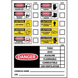 "NMC CI1P Chemical ID Labels, 5"" X 3"", White/Red/Black, PSV"