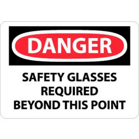 """NMC D108RB OSHA Sign, Danger Safety Glasses Required Beyond This Point, 10"""" X 14"""", White/Red/Black"""