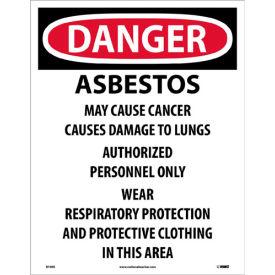"NMC D1095 OSHA Sign - Danger Asbestos Cancer & Lung Disease Hazard, Paper, 18"" x 14"", 200/PK"