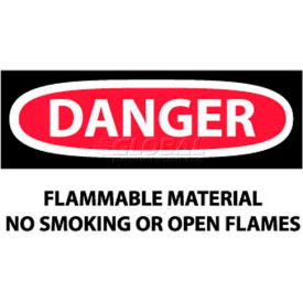 """NMC D117AP OSHA Sign, Danger Flammable Material No Smoking Or Open Flames, 3"""" X 5"""", White/Red/Black"""